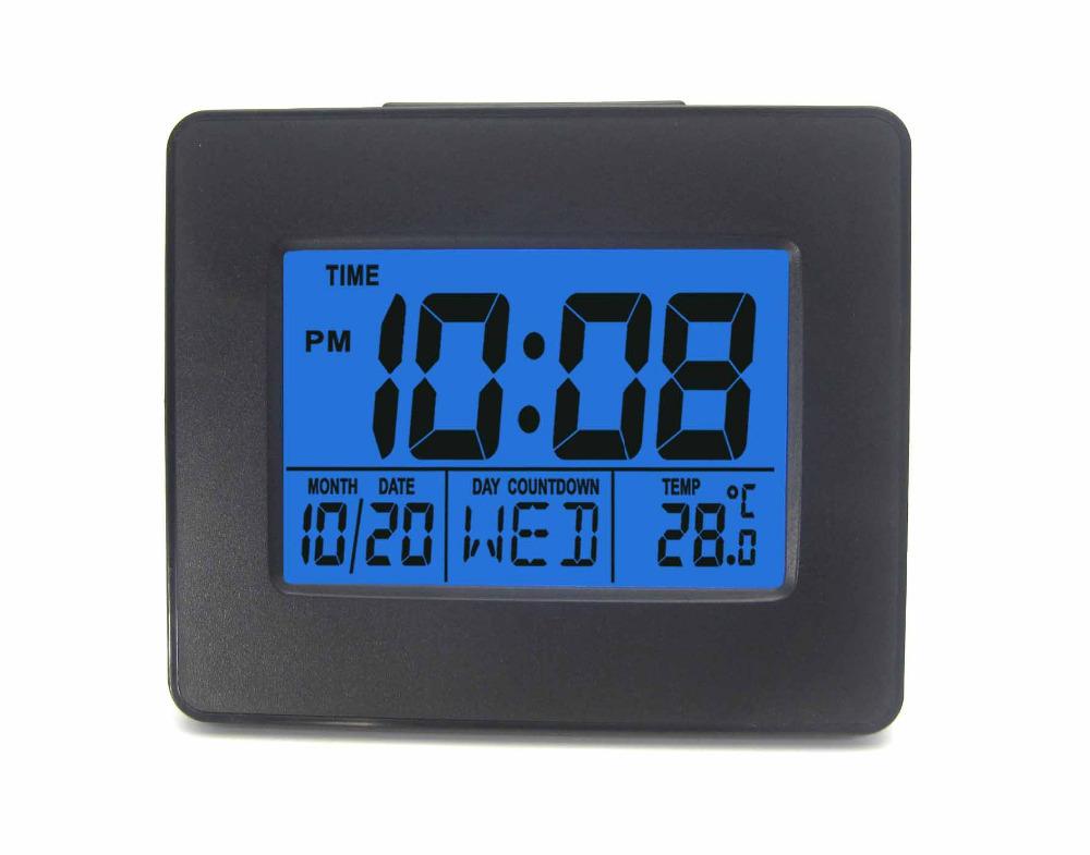 Digital Atomic Alarm Clock Black with Blue Backlight Snooze Birthday Alarm Setting Indoor Temperature(China (Mainland))