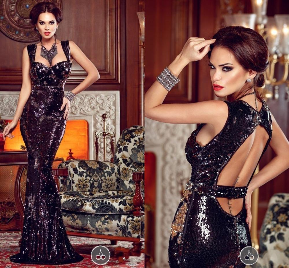 High Quality Black Mermaid Evening Dress V Neck Backless Lace Long Formal Party Dress Simple Shiny Evening Gown Vestido De Festa(China (Mainland))