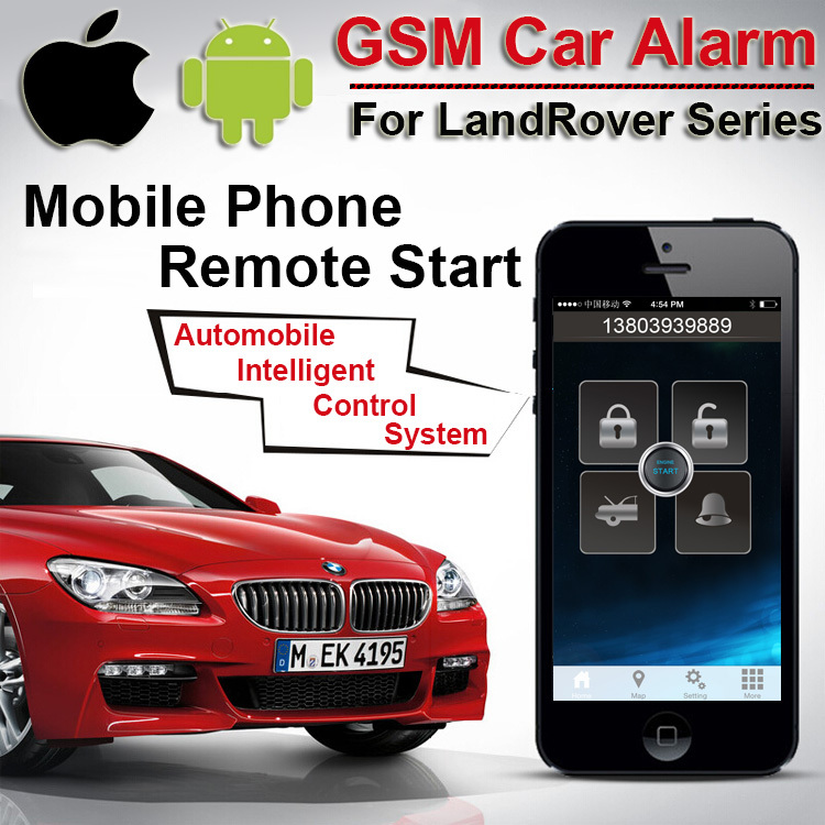 IOS Android GPS GSM Car Alarm for LandRover Push Button Start Two Way Car Alarm Automobile Intelligent Control System CARBAR(China (Mainland))
