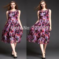 New Arrival 2015 Spring High quality  Fashion Women Clothing Elegant Print  Bohemia  Party Dresses Long DRESS O-Neck Casual