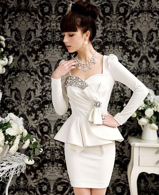 Free Shipping Fashion Super Flash Diamond Gem Noble Ladies Bow Dress,Party Tight Long Sleeve Women Dresses Suit Mini Dresses(China (Mainland))
