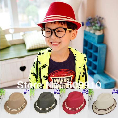 Children's Fedora Hats & Caps Baby Top Hat Kids Spring/Autumn Jazz Cap Cowboy Hat Fedoras 2pcs Sample Free shipping(China (Mainland))