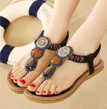 2015 women's high quality gemstone Bosnia style flip flops summer sandals soft sole platform casual sandals plus size(China (Mainland))