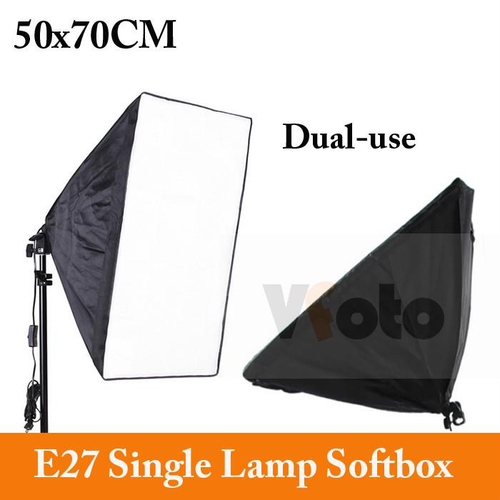 Photo Studio E27 single lamp Softbox 50x70cm Soft box Photography continuous light equipment Easy studio accessories(China (Mainland))