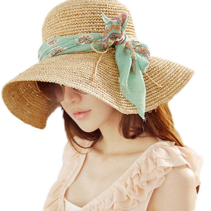 Best Deal Summer Fashion Women Hawaii Tourism Large Brim Hat Raffia Straw Sun Hat Foldable Beach Headwear 1pcs(China (Mainland))