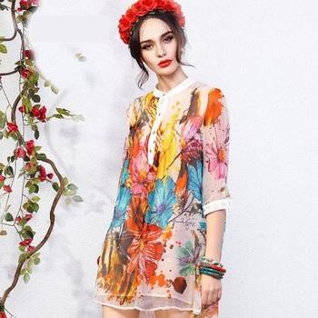 2015 летние платья женщин три четверти рукавом широкий тропический цветочным принтом мини платье плиссированные 100% шелк ну вечеринку платье Большой размер