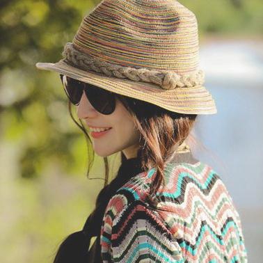 2015 New Colorful Krean Style Sun Hat Plait Shade Straw Hat Women Lady Summer Beach Cap HT064(China (Mainland))