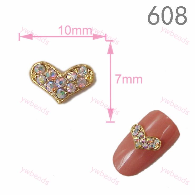 2015 New Fashion 20pcs 7*10mm 3D Heart Crystal ab rhinestone Nail Art Decorations gold Nail Supplies Free Shipping DIY608(China (Mainland))