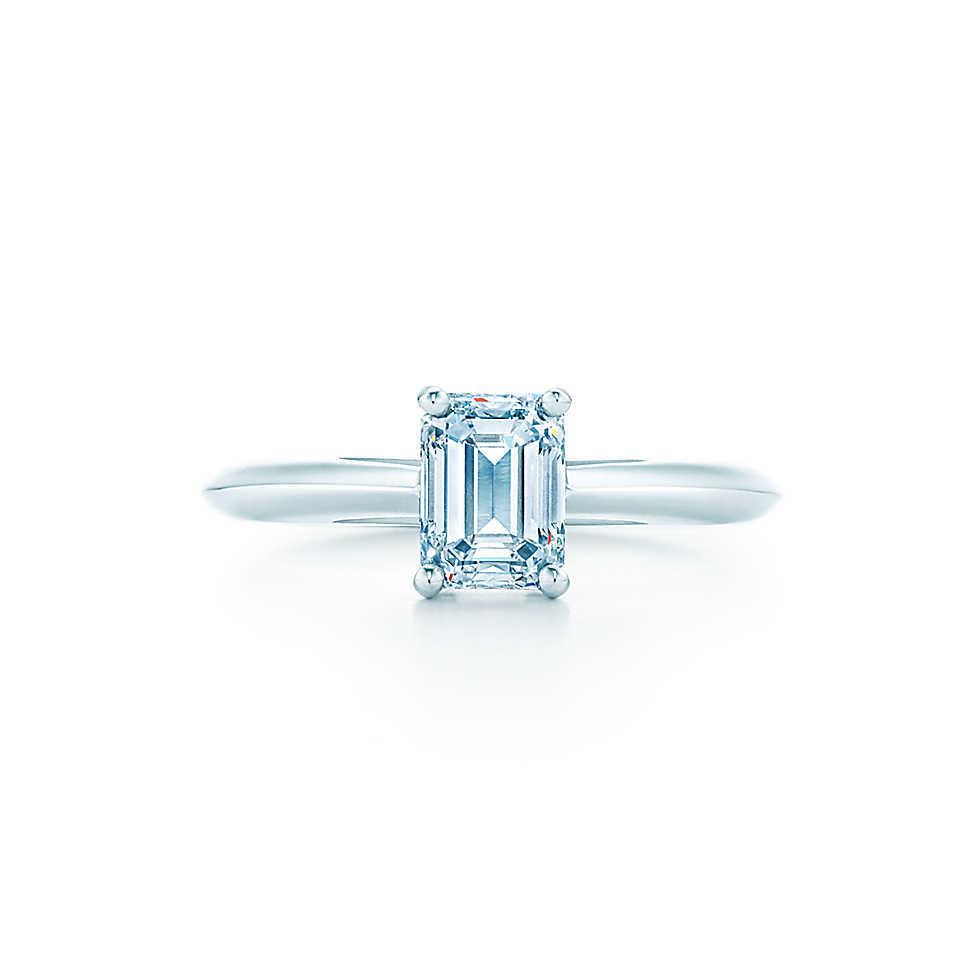 1 Carat Pure 14K Gold Emerald Cut Indigenous Synthetic Diamond Women Anniversary Ring Simple Life Style Women Gold Jewelry(China (Mainland))