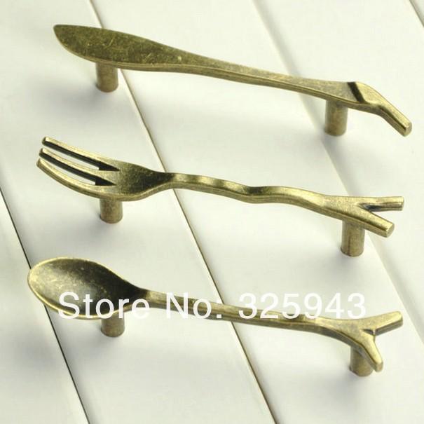 12PCS Bronze Spoon Knife Fork Kitchen Cabinet handles Cupboard Closet Drawer knobs Pulls Bars(China (Mainland))