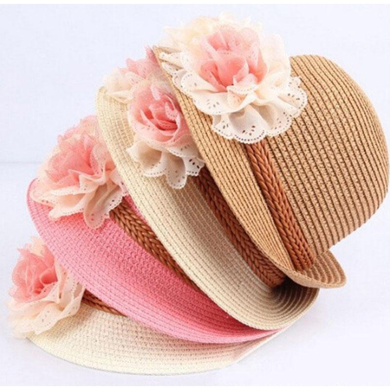 2015 Spring Summer Child Sun Hats Baby Girl Children Straw Cap Sun Visor Hats Flower Design Sunhat(China (Mainland))