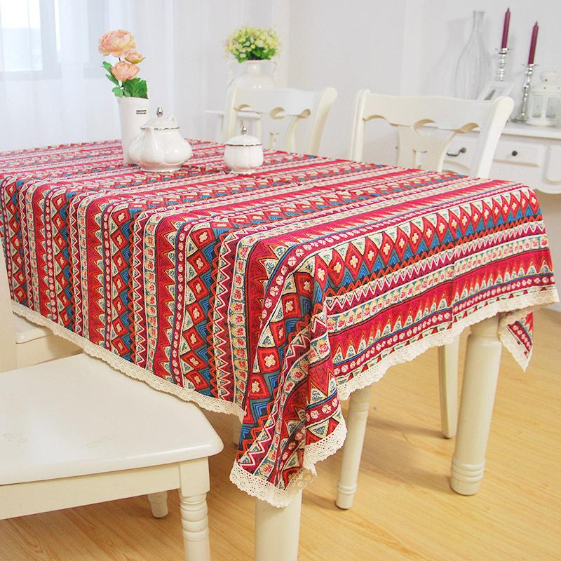 Bohemian striped tablecloth lace edging ethnic cotton tablecloth fabric sofa cushion(China (Mainland))