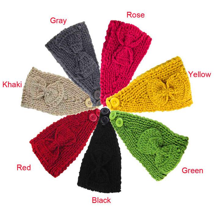 Delicate Fashion Women Crochet Headband Bow Knit Winter Headwrap Ear Warmer HairBand nice(China (Mainland))
