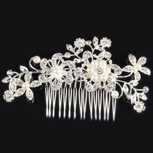 2015 Spring Wedding Bridal Flower Hairpins Rhinestone Headpiece Hair Pin Hair Claws Wedding Jewelry E CH