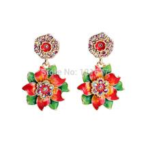 Flashing Summer Muliticolor Crystal Enamel Flowers Women Earrings Fashion Party Dress Jewelry Earrings Fashion Jewelry Brincos(China (Mainland))