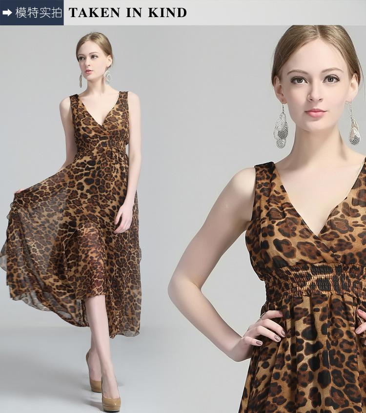 NEW!!! Hot!!! Free shopping oreign trade clothing wholesale 2015 new single Chiffon leopard print dress(China (Mainland))