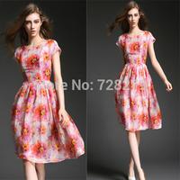 2015 Spring Summer Style Women Dresses  Fashion Elegant 3D print  Medium Long DRESS Party Dresses Plus Size L XL Flower Print