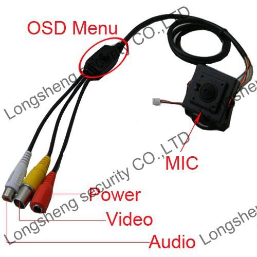 Mini HD Sony 700TVL A/V 2.5mm Wide Angle 120 Degree  CCTV Color camera Audio Output(China (Mainland))