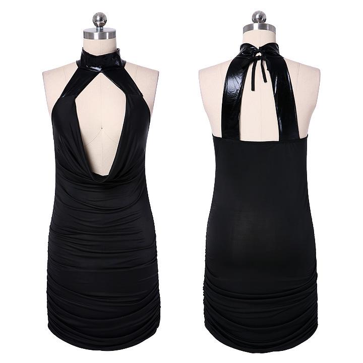 Sexy nightclub ladies hanging neck dress sexy backless black dress bag hip dress spell leather(China (Mainland))