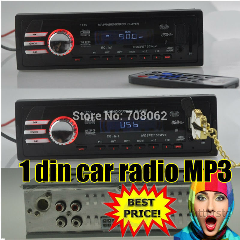 2015 NEW 12V Car Radio player car audio auto Stereo FM Receiver MP3 5V Charger USB/SD card/AUX in Car radios In-Dash 1 DIN size(China (Mainland))
