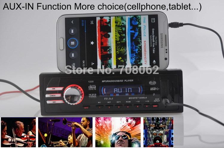 12 V автомобиль радио плеер автомобиль аудио автоматический стерео FM приёмник MP3 5 V зарядное устройство USB / карта SD / AUX в автомобиль радио в-dash 1 DIN размер