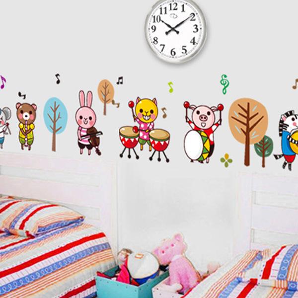 Animal Band AY7155 children's bedroom self-adhesive decorative stickers preschool classroom notes cartoon wall stickers wholesal(China (Mainland))