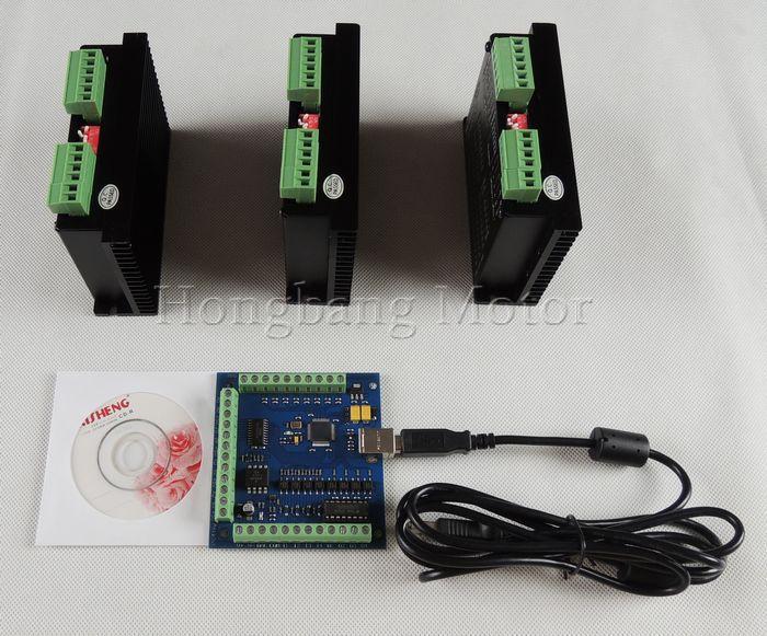 CNC TB6600 mach3 usb 3 Axis Kit, 3pcs TB6600 1 Axis Stepper Motor Driver + one mach3 4 Axis USB CNC Controller card 100KHz(China (Mainland))