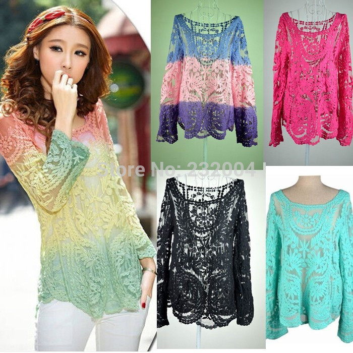 blusa feminina 2015 Spring summer Fashion Long Sleeve blouse Women Hollow Out Lace women tops Cotton Blusas Plus Size XXL()