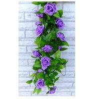 Artificial Rose Silk Flower Green Leaf Vine Garland Home Wall Party Decor Wedding Decal (Purples) AE02772