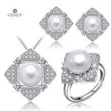 Genius natural pearl jewelry ,jewelry sets pear as gift, White sterling freshwater pearl,925 silver with diamond(China (Mainland))