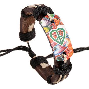 Унисекс кружево - вверх кожа браслеты Pulseira Pulsera прекрасный в форме сердца ...