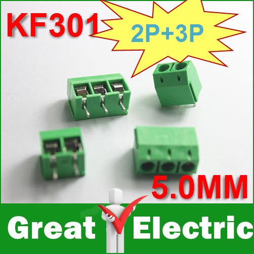 100PCS KF301-5.0-2P + KF301-5.0-3P KF301 5.0mm Straight Pin PCB Screw Terminal Block Connector Free Shipping #CGKCH106(China (Mainland))