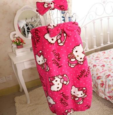 Kawaii Hello Kitty Hairband + Bathrobe Set ; Lady Girl's Shower Bath Robe Gown Dress 63CM Length Standard Size Night Gown Pajama(China (Mainland))