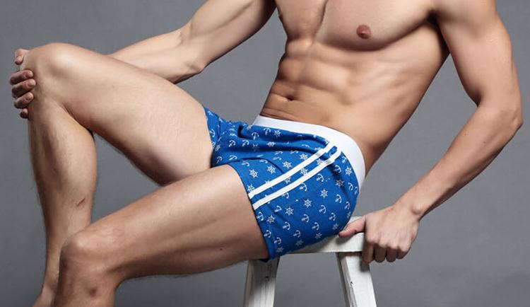 Precious Cotton Anchors Printing Men's sexy Home shorts Boxer Men 2XL XL L M 2015 New(China (Mainland))