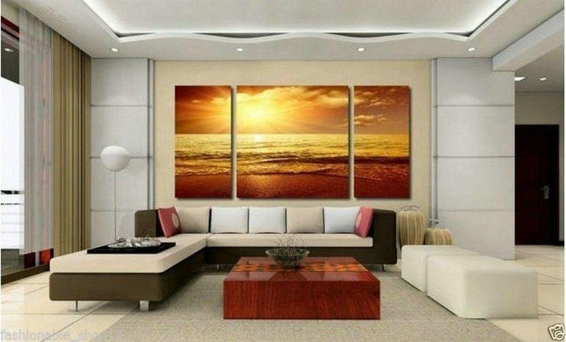 Grande muralha CANVAS PICTURE Sea Sunset Beach pintura a óleo(China (Mainland))