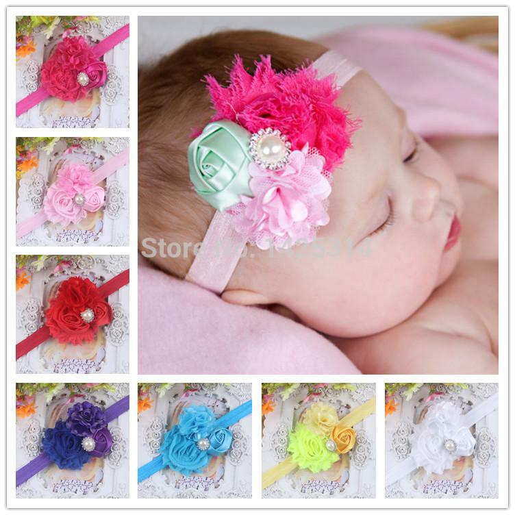 200Pcs/lot.Big Wholesale .Baby girls headbands,Shabby Chiffon Rose flower with pearls Children Hairband Kid hair accessoires(China (Mainland))