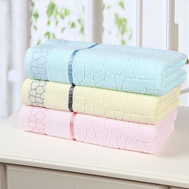 Free Shipping New Home 100% Pure Combed Cotton Towel Beach Bath Towel 140*70cm Water Cube Pattern Plain Jacquard Soft Bath Towel(China (Mainland))