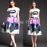 New Arrival 2015 Spring Women Clothing O-Neck Paillette T-Shirt Medium-Long Set 3D Print Summer Style S M L