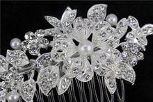 Beautifu flower Bridal Wedding Crystal Tuck comb Pearl Hair Comb Hair Jewelry