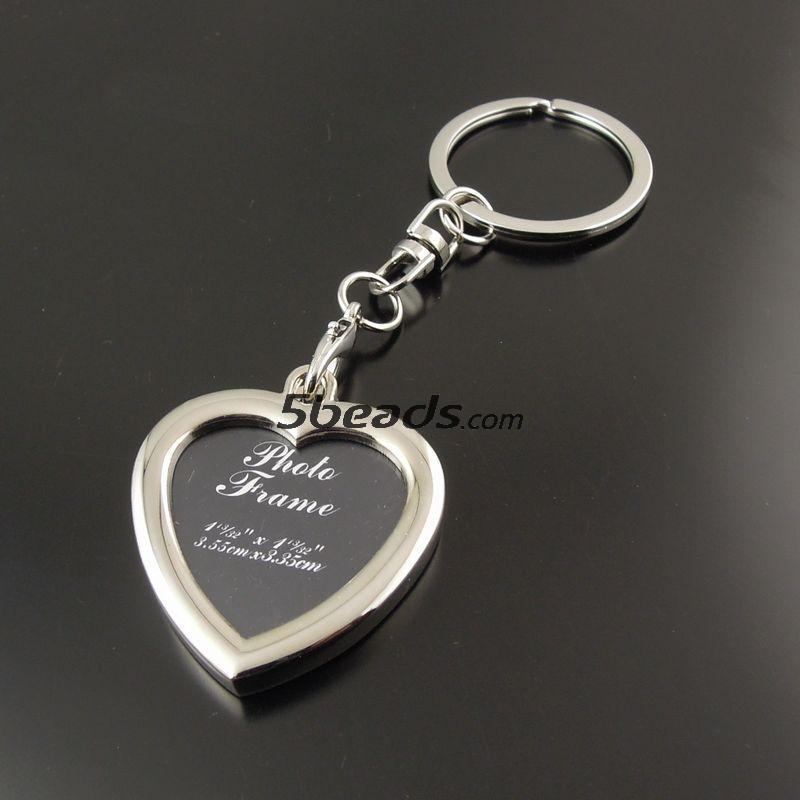 AM0655 Vogue Sytle Heart Shape Custom Photo Frame Key Chain Key rings Decoration 1PC(China (Mainland))