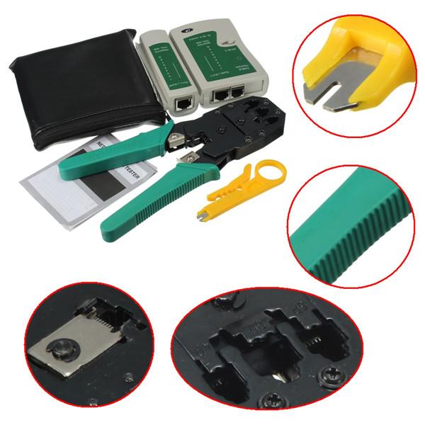 HIGH SPEED PRO RJ45 RJ11 RJ12 CAT5 Portable LAN Network Tool Kit Utp Cable Tester AND Plier Crimp Crimper Plug clamp PC HandTool(China (Mainland))