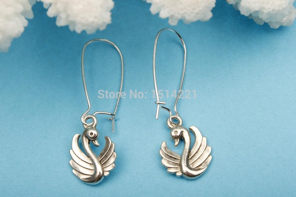 Silver Swan Charm charm Earrings, Swan, Swan Pendent, Christmas Gift, Friendship Gift(China (Mainland))