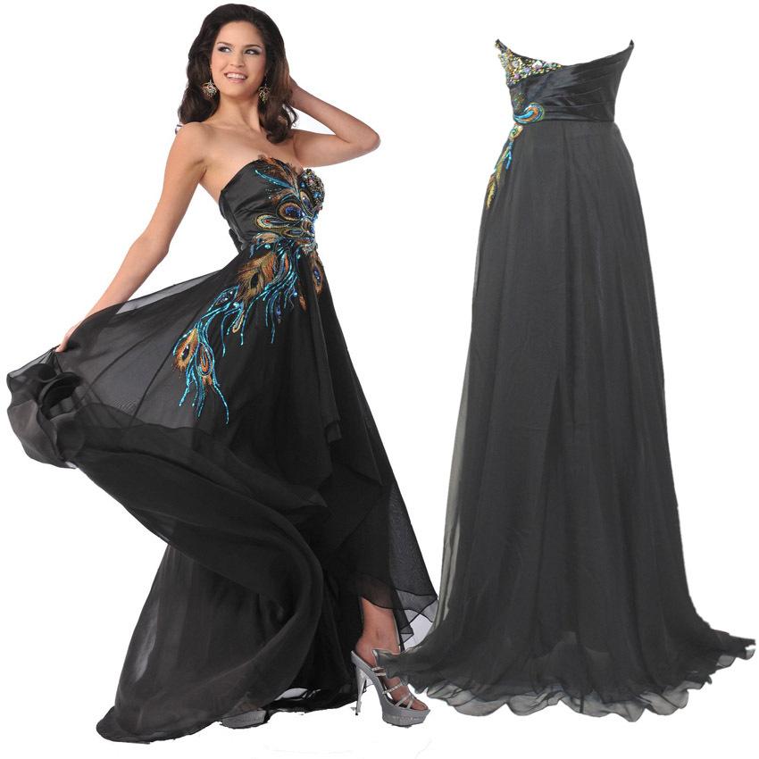 Exquisite Long Black bordado Peacock cristal frisada Prom vestidos de festa vestido de noite Formal Strapless Chiffon sem costas vestido(China (Mainland))