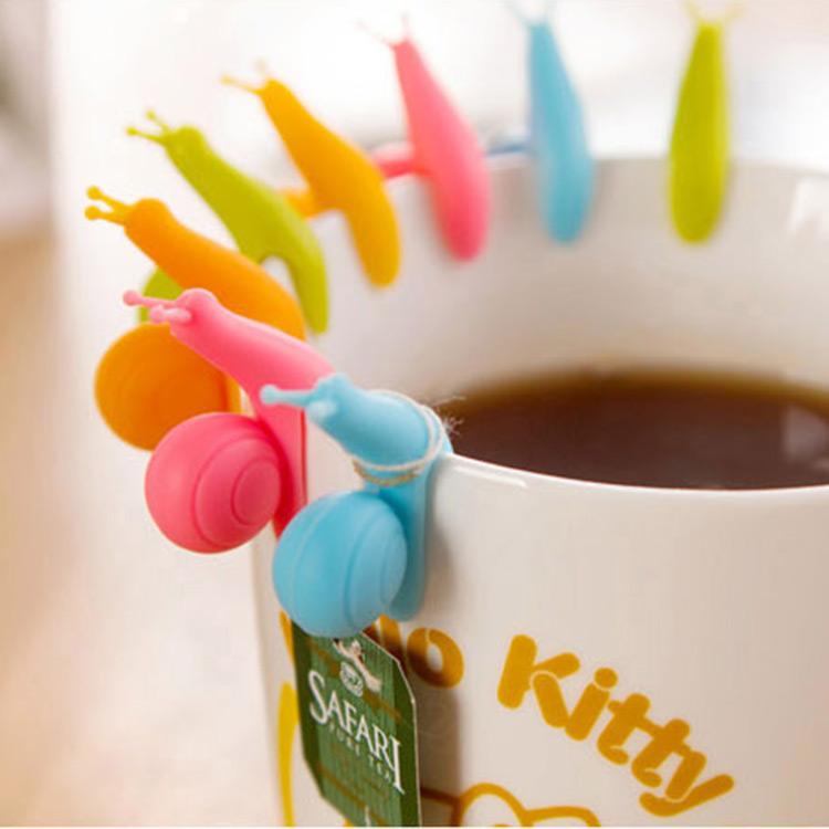 New Novelty Cute 5Pcs Snail Shape Silicone Tea Bag Hanger Clips Cup Distinguish Candy Colors Tea Bag Holder(China (Mainland))