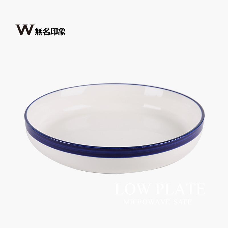 Blue deep dish soup plate ceramic tableware creative dishes minimalist white 8-inch disk salad dish of ice(China (Mainland))