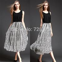 2015 Fashion Women DRESS Summer Dresses  Black and White Stripe O-neck slim Medium-long Sexy Plus size Long DRESSES