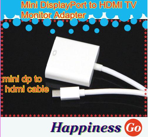 100 pcs Mini DisplayPort to HDMI TV Monitor Adapter for Macbook Free shipping(China (Mainland))