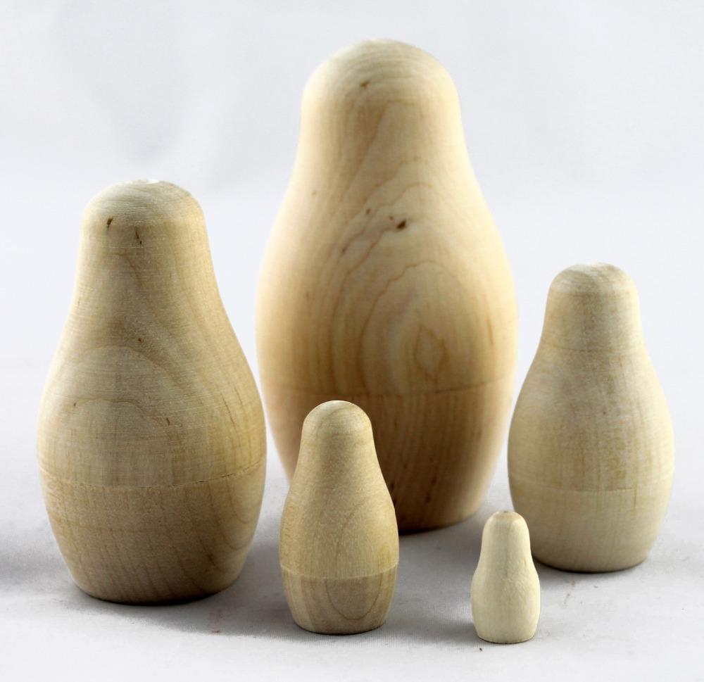 Unpainted Blank Wooden Russian Nesting Doll Matryoshka Dolls Russia Art Crafts Sets 5pc 9.5cm(China (Mainland))