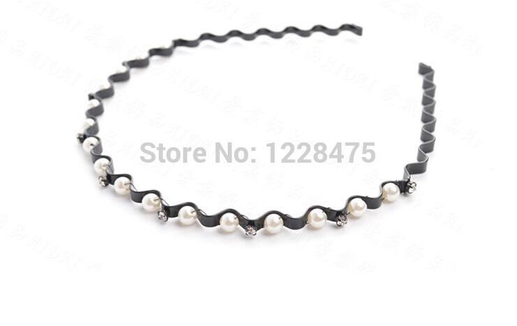 NEW girls women peal wave black with Rhinestones hairband / Korean style headbands / fashion gift(China (Mainland))