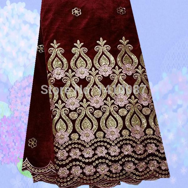 JV14-2 Wine+Gold Wonderful Swiss Style Velvet Wedding Lace Smooth 100% Silk Velvet Textiles For Dress Free Shipping(China (Mainland))